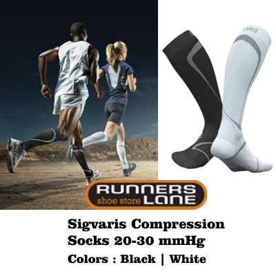 Sigvaris Performance Socks Black or White 20-30mmHg