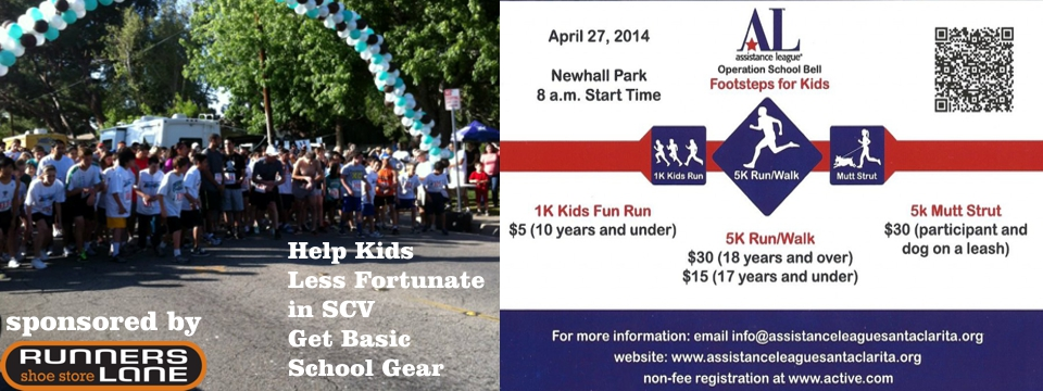 All proceeds from this race go to benefit the Operation School Bell Program which provides clothing and shoes to over 3,000 elementary and junior high school age students in the Santa Clarita Valley each year.