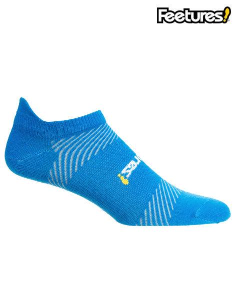 feetures elite light cushion socks blue and yellow