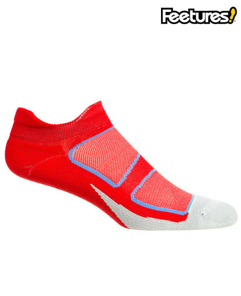 feetures elite light cushion socks white and red